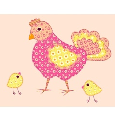 Stitched hen and chickens vector