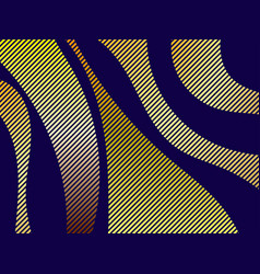 striped waves with golden gradient on black vector image