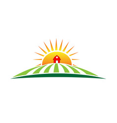 Sun and farm harvest label icon vector
