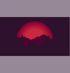 sunset at mountains abstract minimal wallpaper vector image