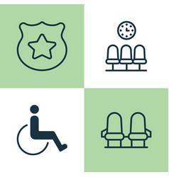Traveling icons set collection of seats cop symbol vector