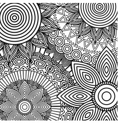 tribal ethnic floral mandala sketch pattern for vector image