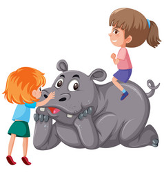 two children riding rhinoceros vector image