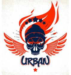 Urban culture style skull in sunglasses logo vector