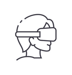 virtual reality glasses and headset line vector image