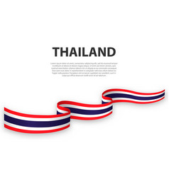 waving ribbon or banner with flag thailand vector image