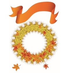 Wheat wreath with ribbon banner vector