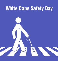 White cane day man cross vector