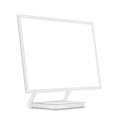 White monitor mock up with perspective view vector