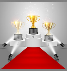 winner awards on victory pedestal vector image