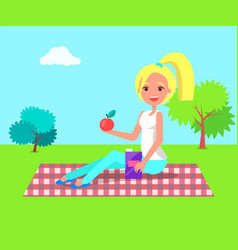 Woman sitting on checkered blanket with apple vector