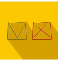 Yes No check marks icon flat style vector image