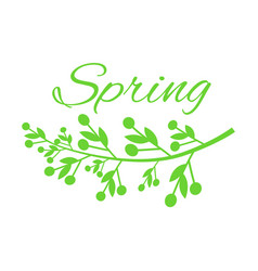 Young spring and grass with small buds on poster vector