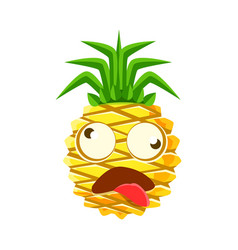 dizzy pineapple emoticon cute cartoon emoji vector image vector image