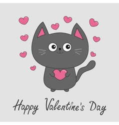 Happy Valentines Day Gray contour cat holding pink vector image vector image