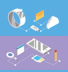 Set technologies with data services connection vector