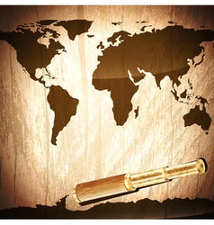 brass telescope at world map vector image