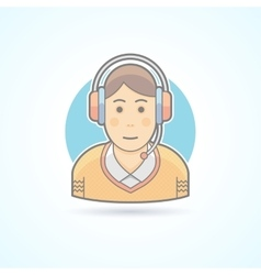 Call center operator icon avatar and person vector