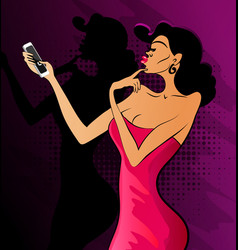 glamorous lady in red dress and red shoes makes se vector image
