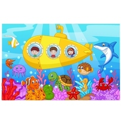 Happy kids in submarine on the sea vector image