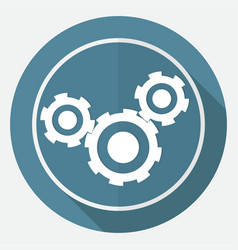 icon cogs on white circle with a long shadow vector image vector image