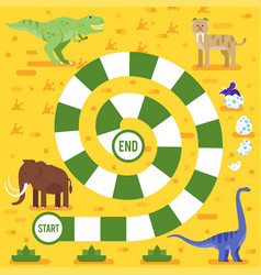 kids board game with dinosaurs template vector image vector image