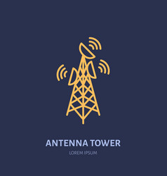 satellite dish tower flat line icon wireless vector image