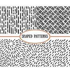 Set of seamless stroke patterns Black and white vector image vector image