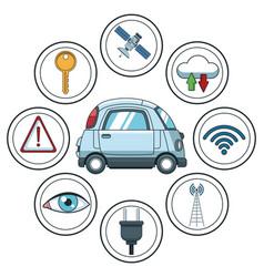 Smart car smarthphone app vector