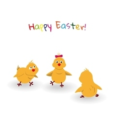 Three easter cartoon chicken on white background vector image vector image