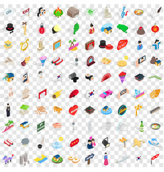 100 show icons set isometric 3d style vector image vector image