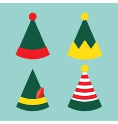 collection of fun holiday elf hat vector image vector image