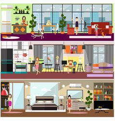 family characters at home flat poster set vector image vector image