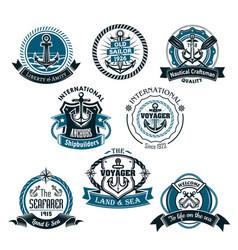 nautical and marine icons set vector image