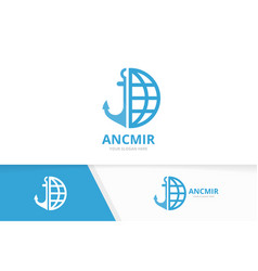 anchor and planet logo combination marine vector image
