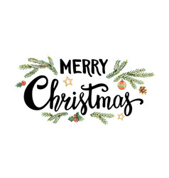 merry christmas lettering with watercolor fir vector image vector image