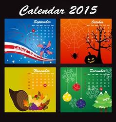 Public Holiday Calendar of 2015 vector image