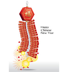 Red firecrackers for chinese new year vector image