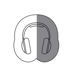 sticker silhouette music headphones icon flat vector image vector image