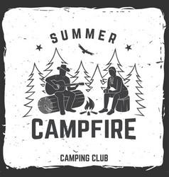 summer campfire badge vector image
