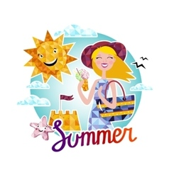 Summer time elements vector image