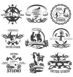 Tattoo Studio Black White Emblems vector image vector image