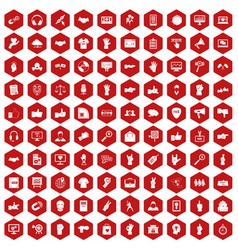100 different gestures icons hexagon red vector