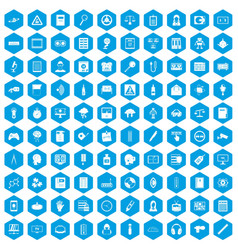 100 information icons set blue vector