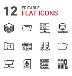 12 archive icons vector image