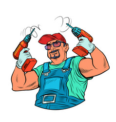 A male worker with drill carpenter or builder vector