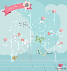 Abstract tree with hearts and flowers vector image