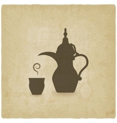 Arabic coffee pot old background vector