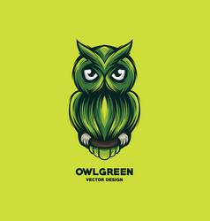 awesome green owl logo design vector image