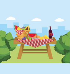 Basket in the table with wine and cheese food vector